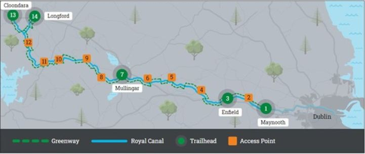 Map of the Royal Canal Greenway, Ireland ©Waterways Ireland