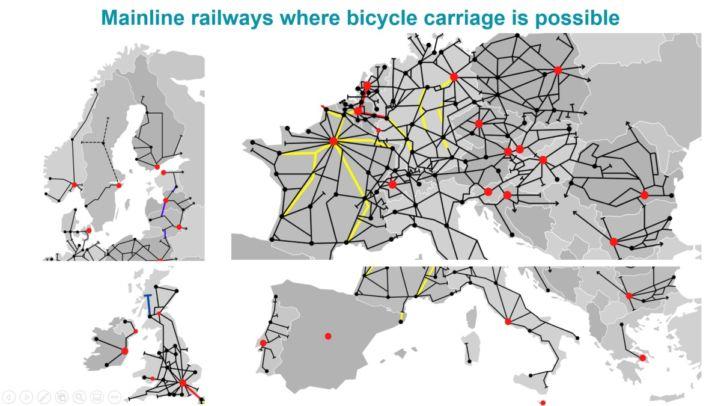 RadfahrerInnen lieben Züge - Europakarte