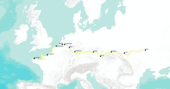 Map of EuroVelo 4 ©EuroVelo