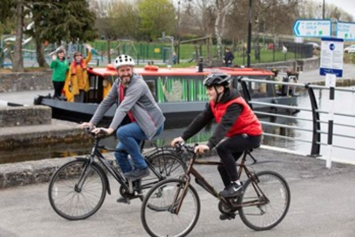 Royal Canal Greenway cycling with barge, Ireland ©Sport Ireland Outdoors
